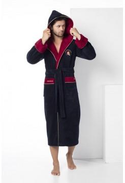 Махровый халат с капюшоном из бамбука Spartacus (EN 2865) (синий)