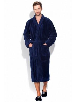 Бамбуковый махровый халат NATUREL (PM 908) (синий (dark blue))