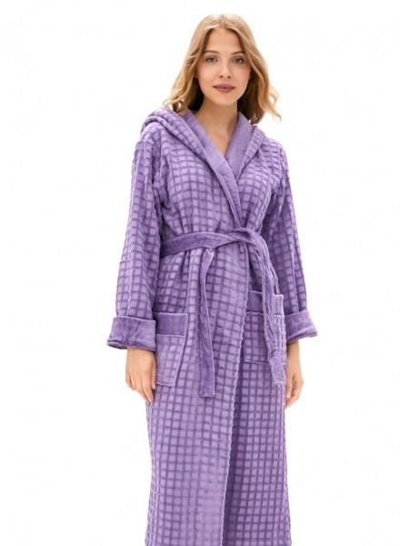 Махровый халат с капюшоном из микро-коттона Ultra Doux (PM France 741) (сирень)