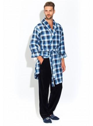 Стильный комплект - легкий халат и брюки Première №32 (PM 2109/1) (комбинированный синий)