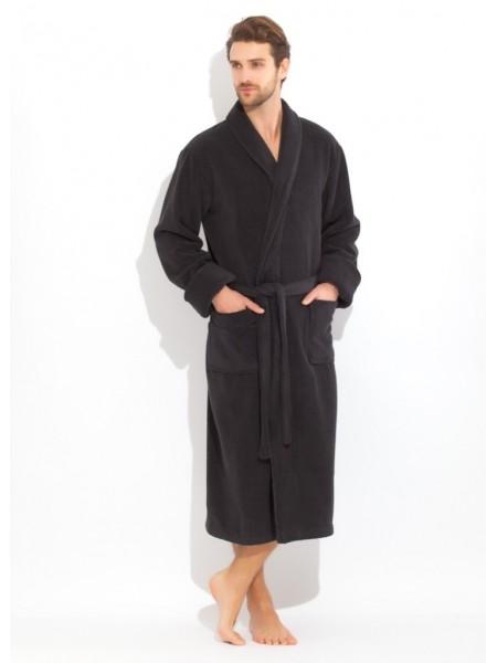Толстый и плотный махровый халат из микро-коттона (Black night (чёрный))