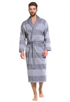Легкий мужской халат из органического хлопка Pur Organique (PM France 417) (серый комбинированный)