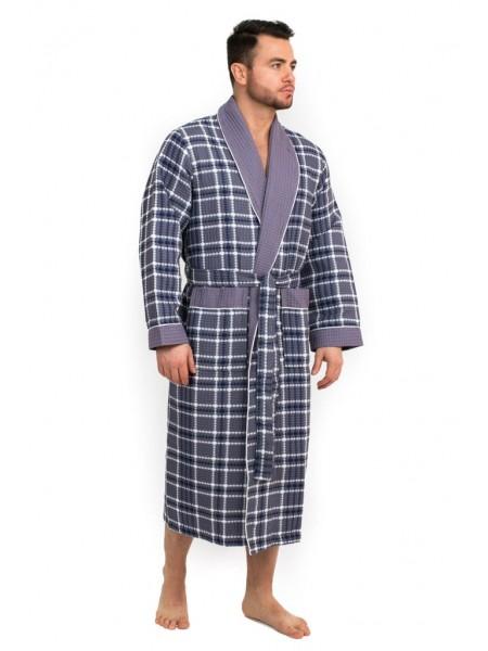 Мужской вафельный халат Style (EP 10020) (серый)