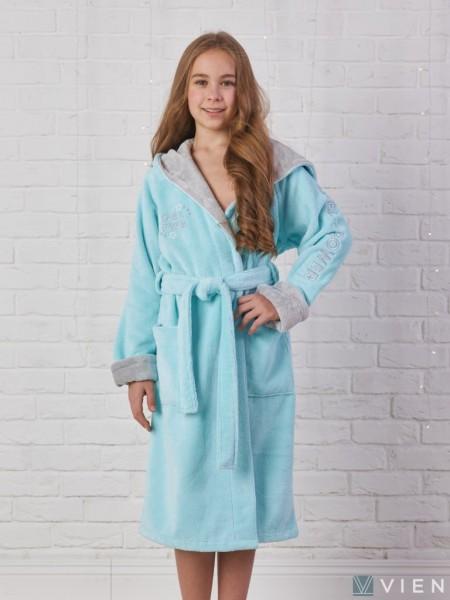 Детский махровый халат Sport Girl (EFW) (бирюзовый)