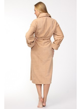 Женский махровый халат Цвет: бежевый (бежевый)