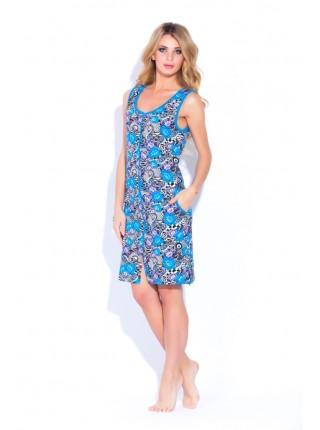 Трикотажный халат на молнии (Е 1004 - 10) (синие и сиреневые цветы)