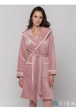 Короткий бамбуковый женский халат Juliette Light (EFW) (пудра)