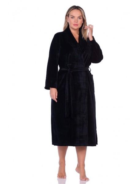 Удлиненный велюровый халат (E 383) (черный)