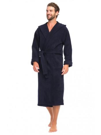Мужской махровый халат с капюшоном SPORT&Life (Е 901-1) (тёмно-синий)