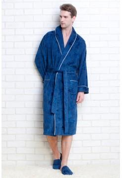Мужской махровый халат STRONG MAN + тапочки в подарок (PM 923) (морская волна)