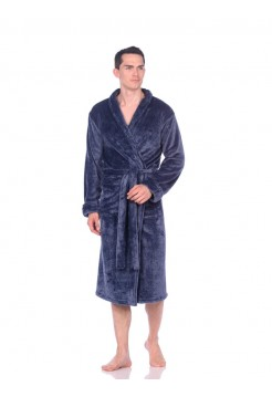 Мужской халат из велсофта Léger (PM France 945) (синий меланж)