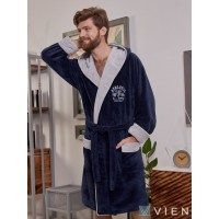 Спортивный бамбуковый халат ATHLETIC (EFW) (Denim/Silver)