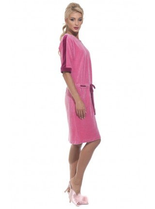 Велюровый халат на молнии Pretty (PM 392) (сухая роза)