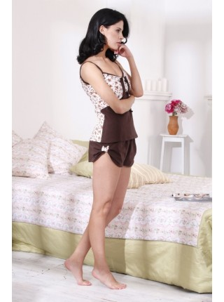 Трикотажная пижама Brown Roses (E 1405) (шоколадные тона)