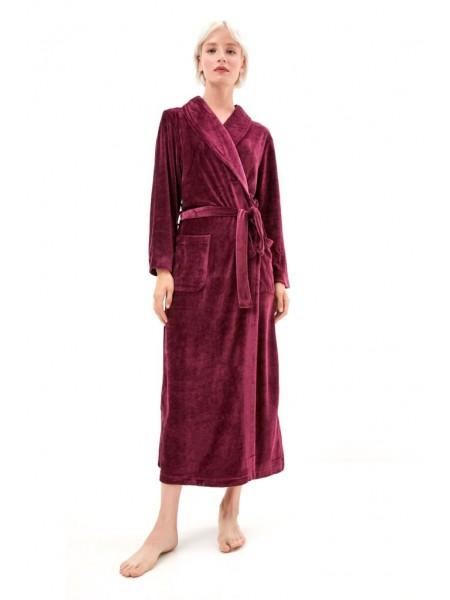 Элегантный велюровый халат из вискозы Passion (PM France 807) (сливовый)
