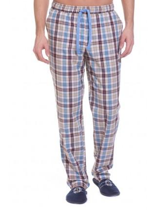 Мужские домашние брюки VIKING № 002 (PM 2140/3) (бежевая и голубая клетка)