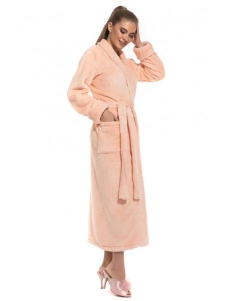 Удлиненный пушистый халат Moderne et léger (PM France 732) (персиковый)