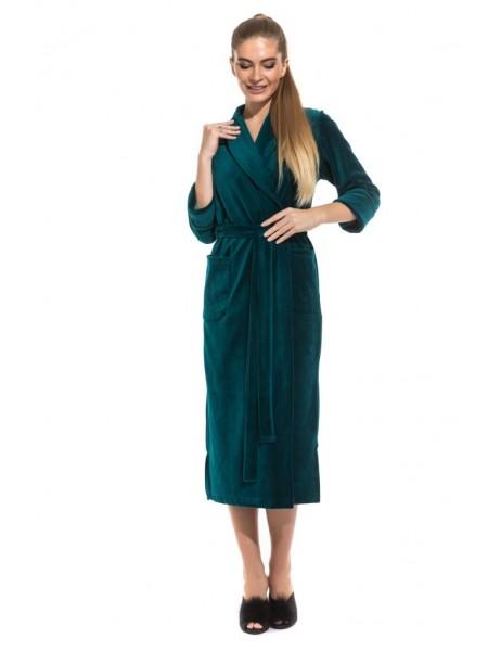 Удлиненный велюровый халат (E 383) (изумрудный)