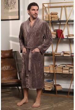 Велюровый мужской халат Harvard (EFW) (мокко)