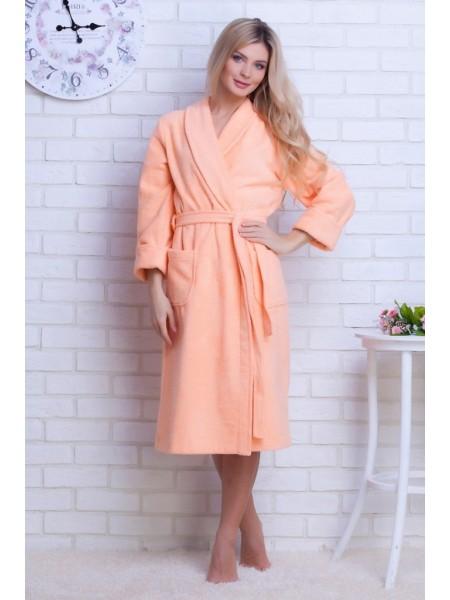 Женский махровый халат Цвет: персиковый (персиковый)