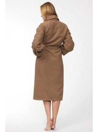 Универсальный махровый халат Цвет: темно-бежевый (темно-бежевый)