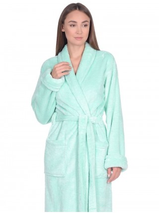 Удлиненный пушистый халат из велсофта Tendre (PM France 745) (мятный)