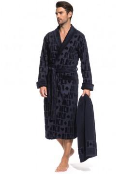 Набор: махровый халат и полотенце Black Jack в подарочной коробке (PM France) (синий)
