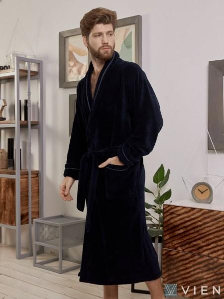 Махровый халат из бамбука Daniel (EFW) (темно-синий)