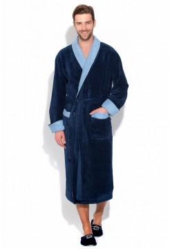 Благородный махровый халат из бамбука GRAF (PM 925) (темно-синий)