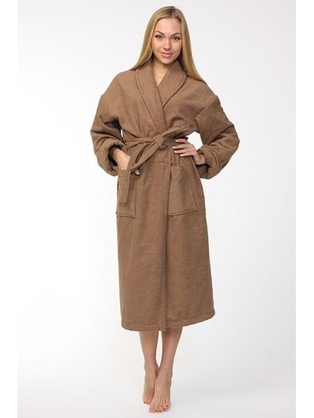 Универсальный махровый халат. (темно-бежевый)