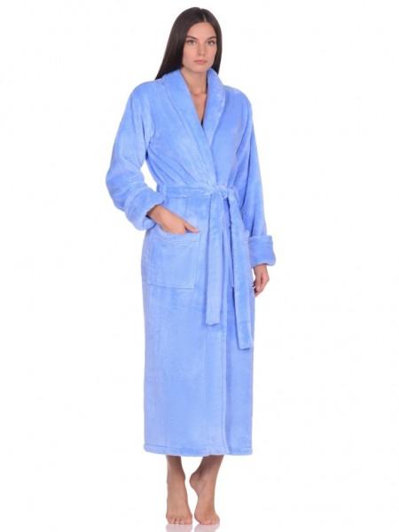 Удлиненный пушистый халат из велсофта Tendre (PM France 745) (голубой)