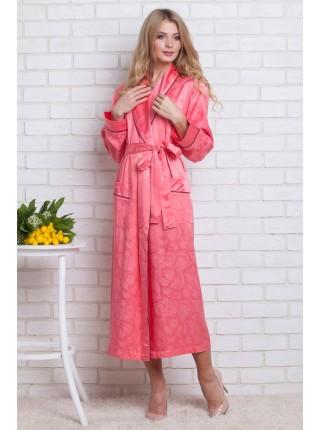 Женский атласный халат из бамбука Silk bamboo (EN 9210) (коралл/гранатовый)