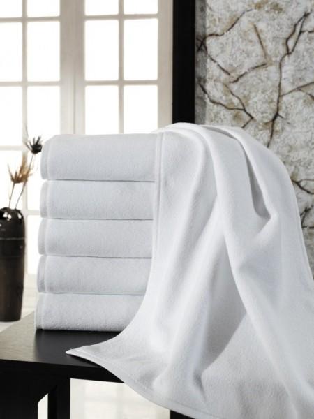 Большое махровое полотенце. Плотность 400 гр/м2. Цвет белый. 100х180 (ET) (белый)