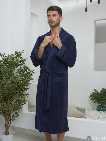 Велюровый халат из бамбука LAWRENCE (EFW) (синий)
