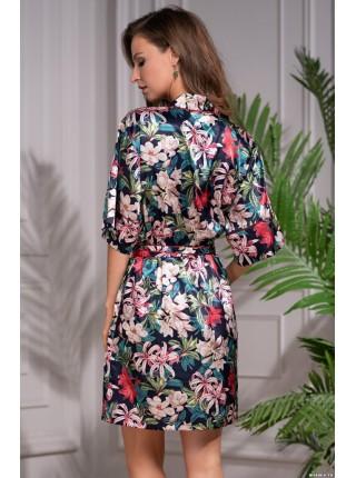Шелковый халат в стиле кимоно Felichita (EMM 8523) (разноцветный)
