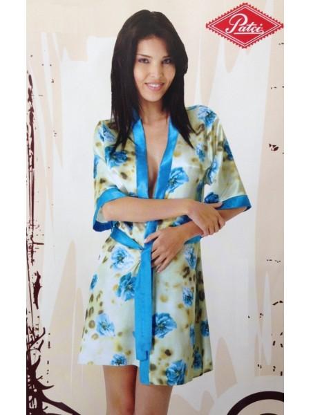 Укороченный халат - кимоно My Enjoy (5133) (сиреневый с красными розами)