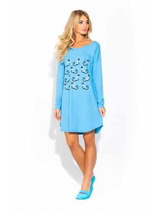 Домашняя туника - ночная сорочка из натурального хлопка Pussy cats (E 1424) (светло-синий)