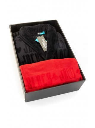 Набор: махровый халат и полотенце Black Jack в подарочной коробке (PM France) (халат-черный/полотенце-красное)