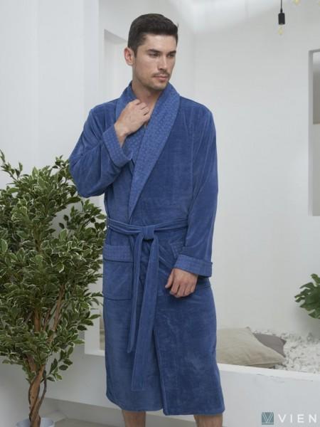 Велюровый халат из бамбука LAWRENCE (EFW) (джинс)