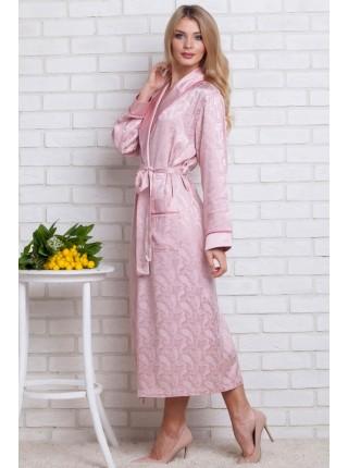 Женский атласный халат из бамбука Silk bamboo (9210 pudra) (нежно-розовый)