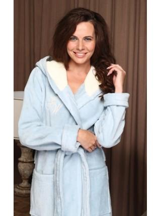 Женский махровый халат Violetta (EFW) (голубой)