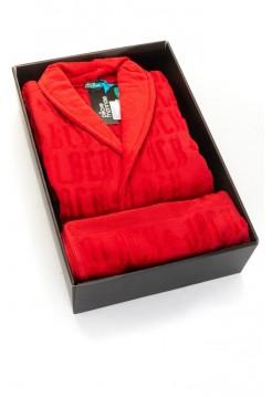 Набор: махровый халат и полотенце Black Jack в подарочной коробке (PM France) (красный)