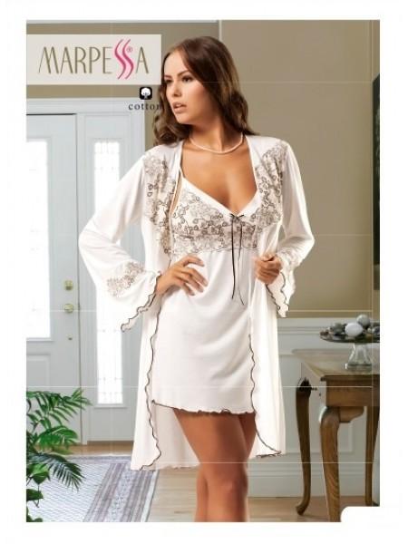 Комплект пеньюар и сорочка Isabella 2 предмета (EA) (нежно-белый)