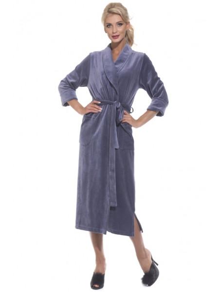 Удлиненный велюровый халат (E 383) (дымчато-синий)