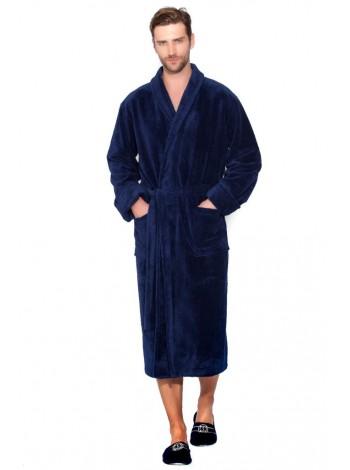 Бамбуковый махровый халат NATUREL Discount (PM 908) (синий (dark blue))