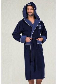 Махровый халат с капюшоном из бамбука Marksman (EN 7160) (синий)