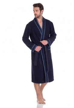 Стильный махровый халат ROCK (PM 911) (sombre bleu (синий))