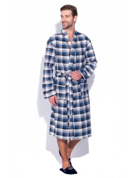 Сверхлегкий хлопковый халат Scotland №31 (PM 2117/2) (синяя с бежевым клетка)