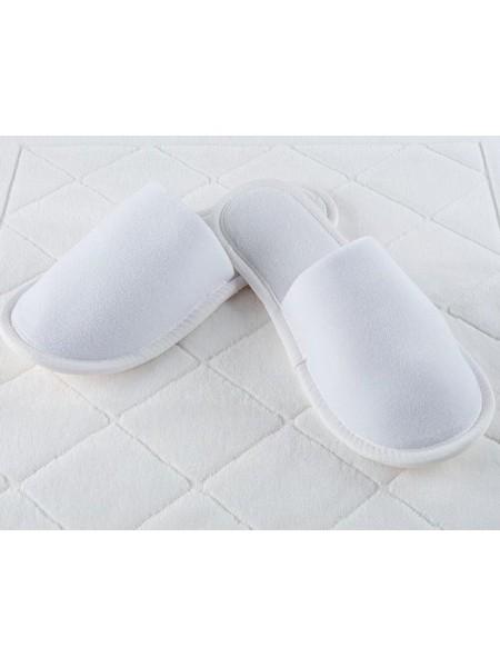 Велюровые тапочки закрытый мыс (EVA 5 мм) (белый)