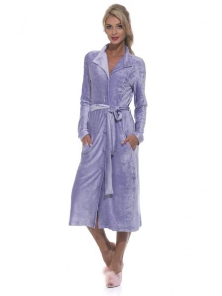 Велюровый халат на пуговицах De Soie (PM 397) (сирень)